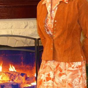 Coldwater Creek Orange suede blazer
